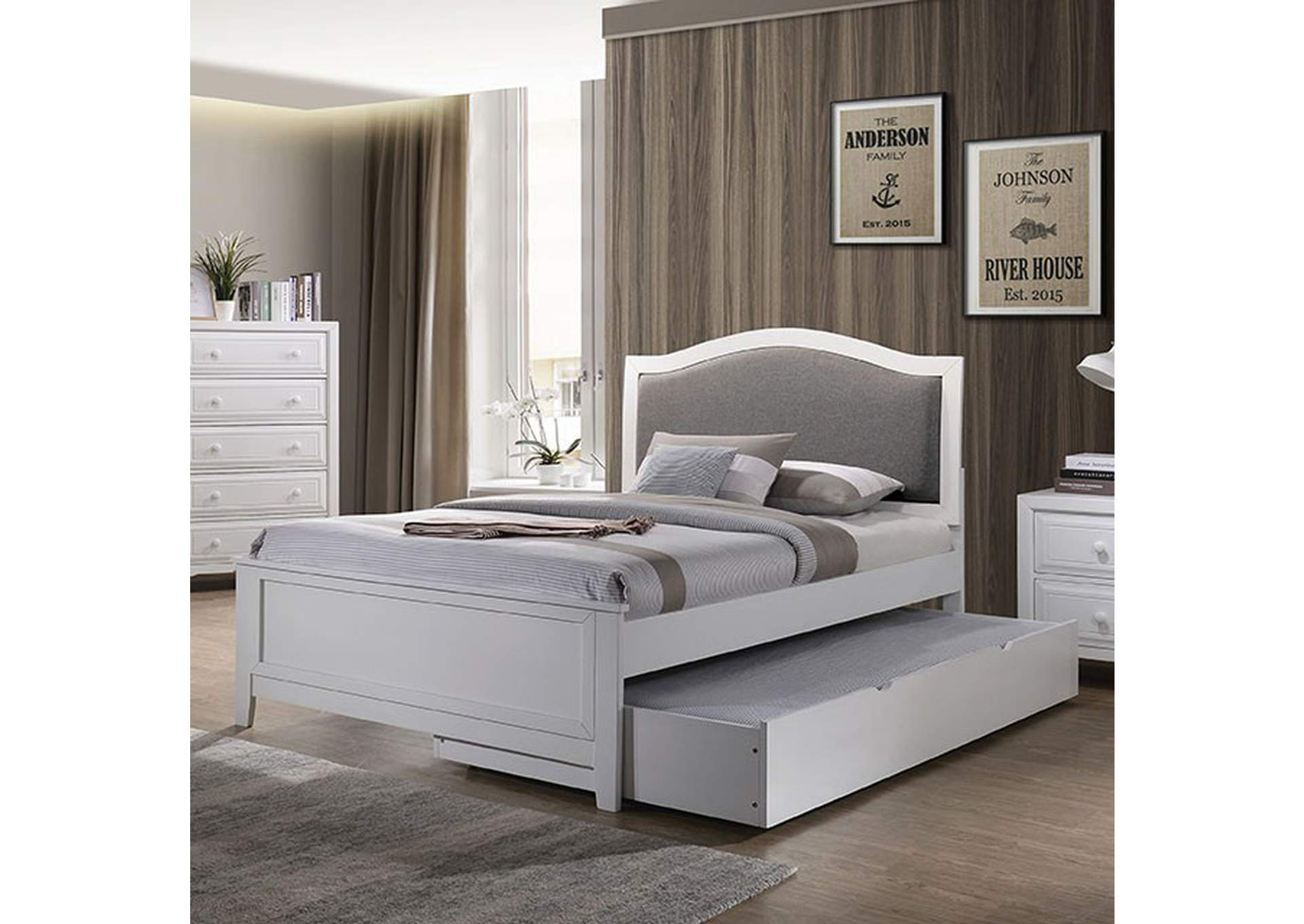 Kirsten Upholstered White Full Storage Platform Bed,Furniture of America