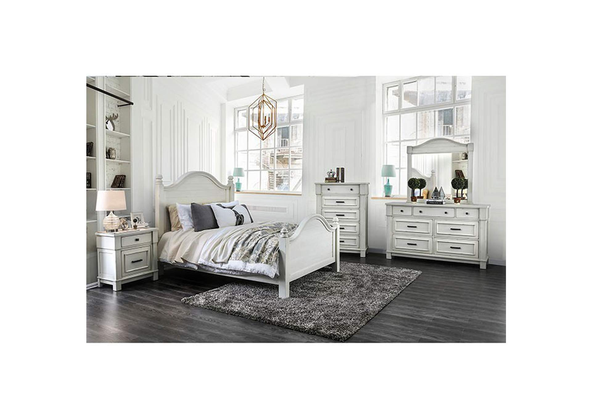 Daria Antique White Camelback Queen Panel Bed,Furniture of America
