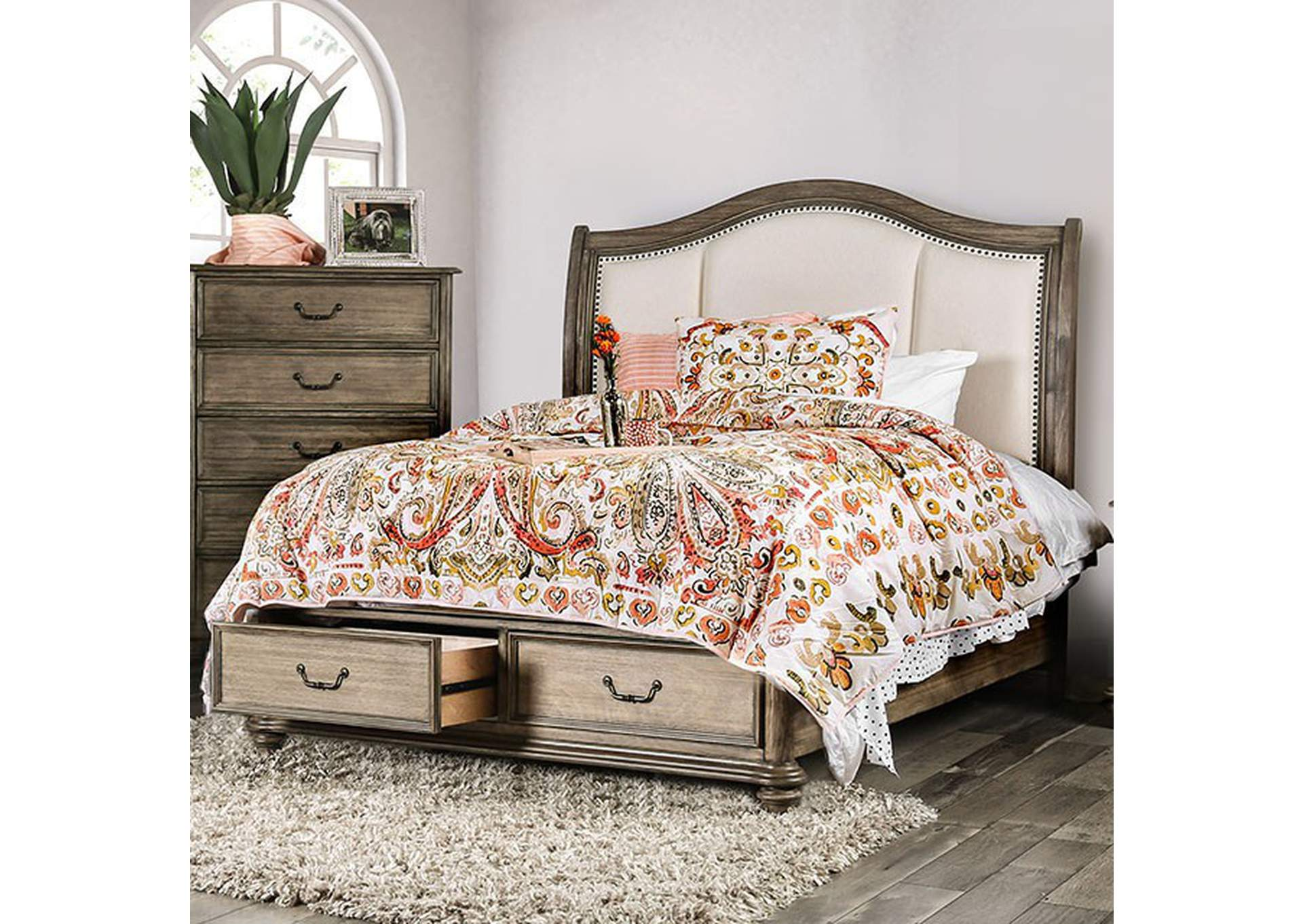 Belgrade I Rustic Natural Tone Queen Upholstered Storage Platform Bed Ideal Furniture Austell