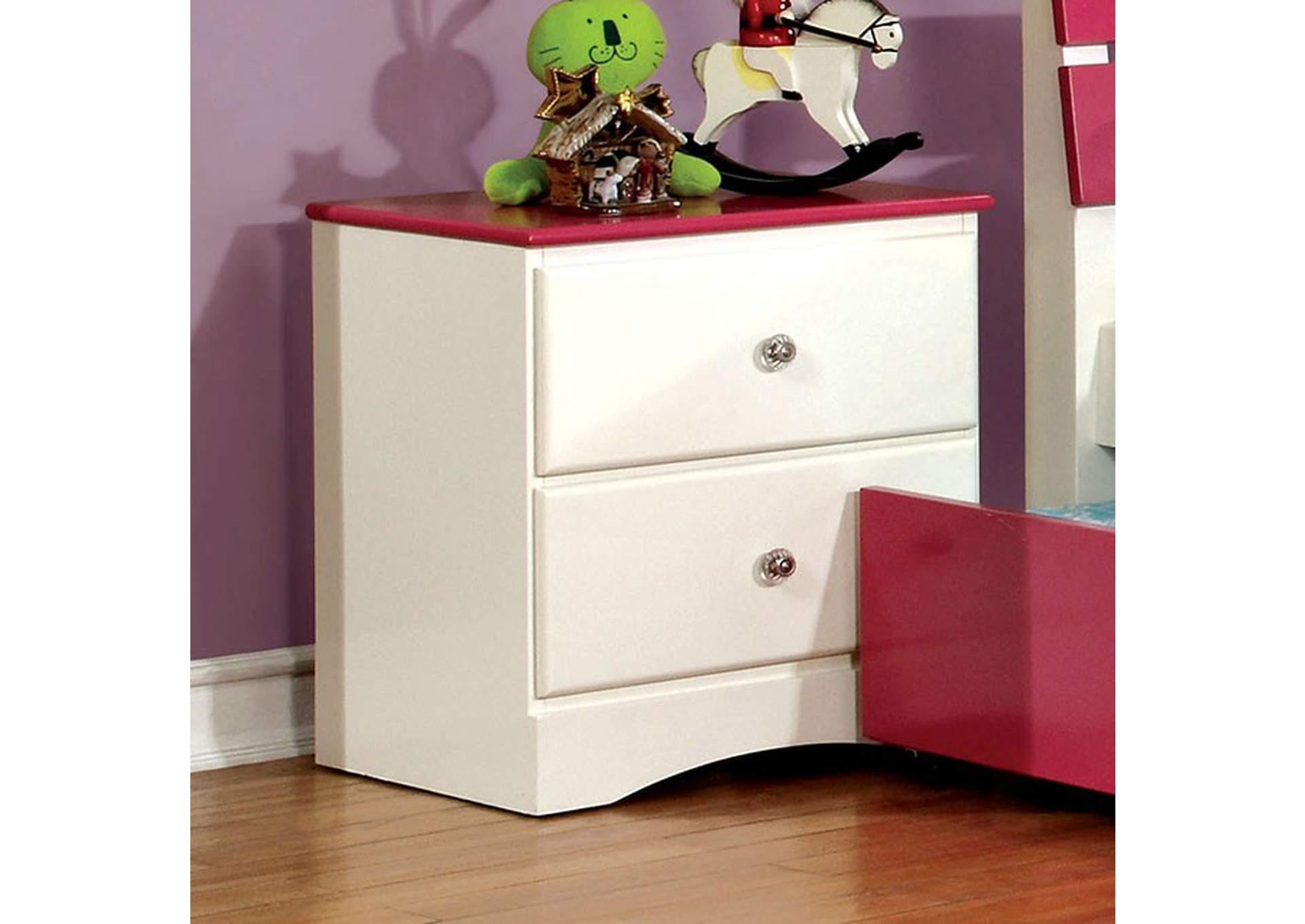 Kimmel Pink White Nightstand Furniture Ville Bronx Ny