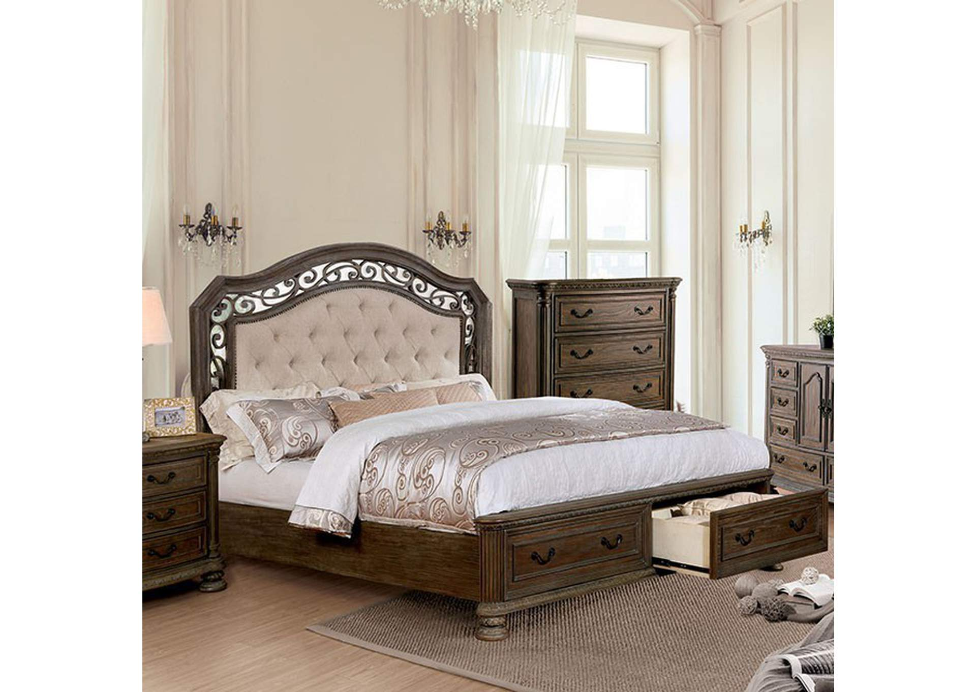 Persephone Rustic Natural Queen Storage Bed,Furniture of America