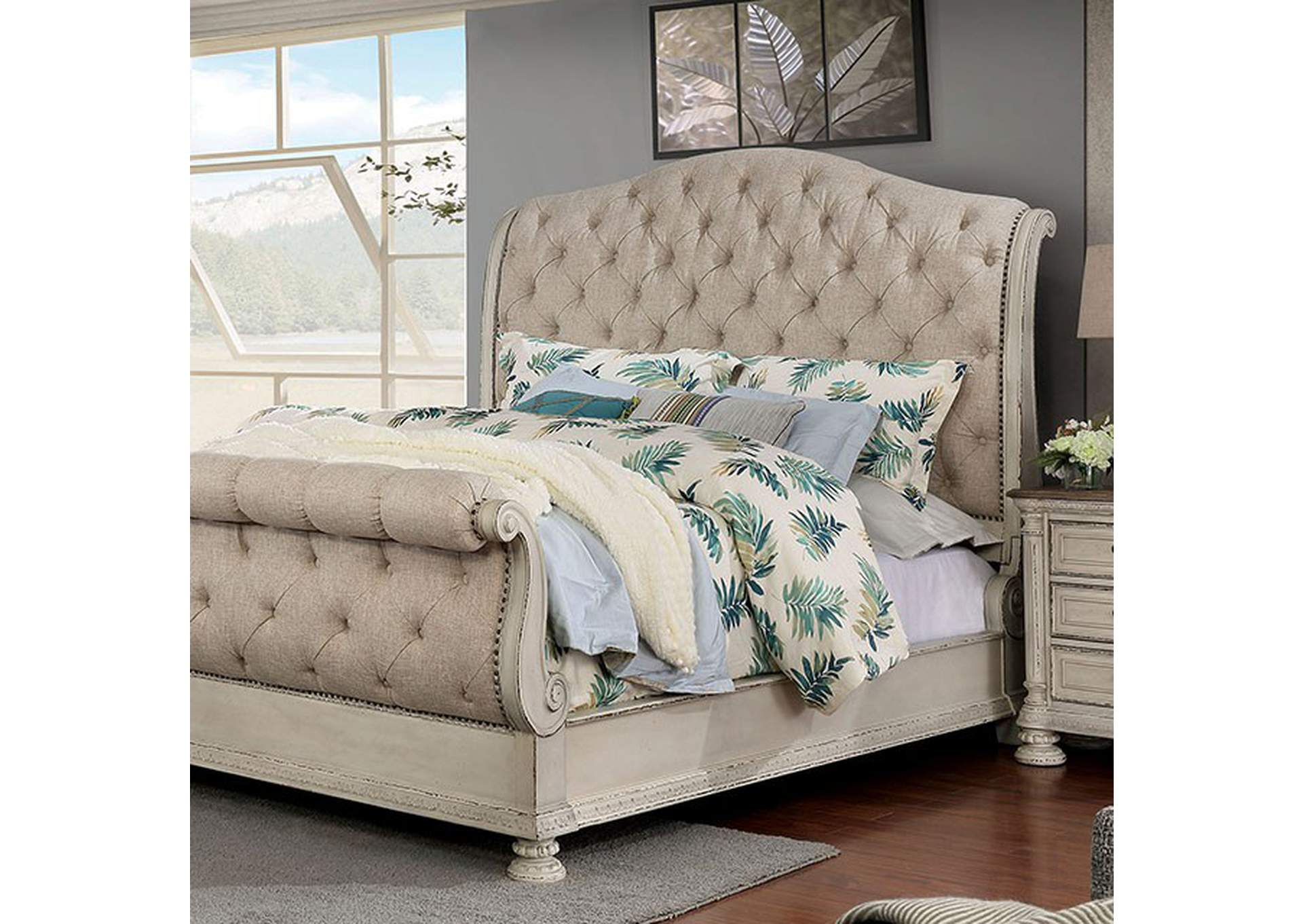 Lysandra White Cal.King Sleigh Bed,Furniture of America