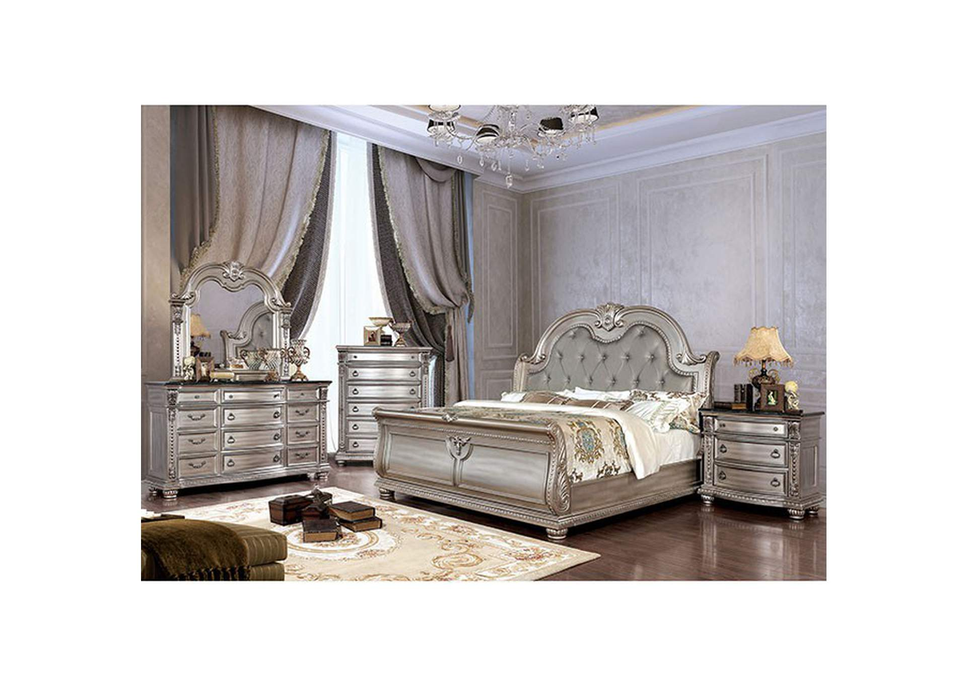 Fromberg Champagne Queen Sleigh Bed,Furniture of America