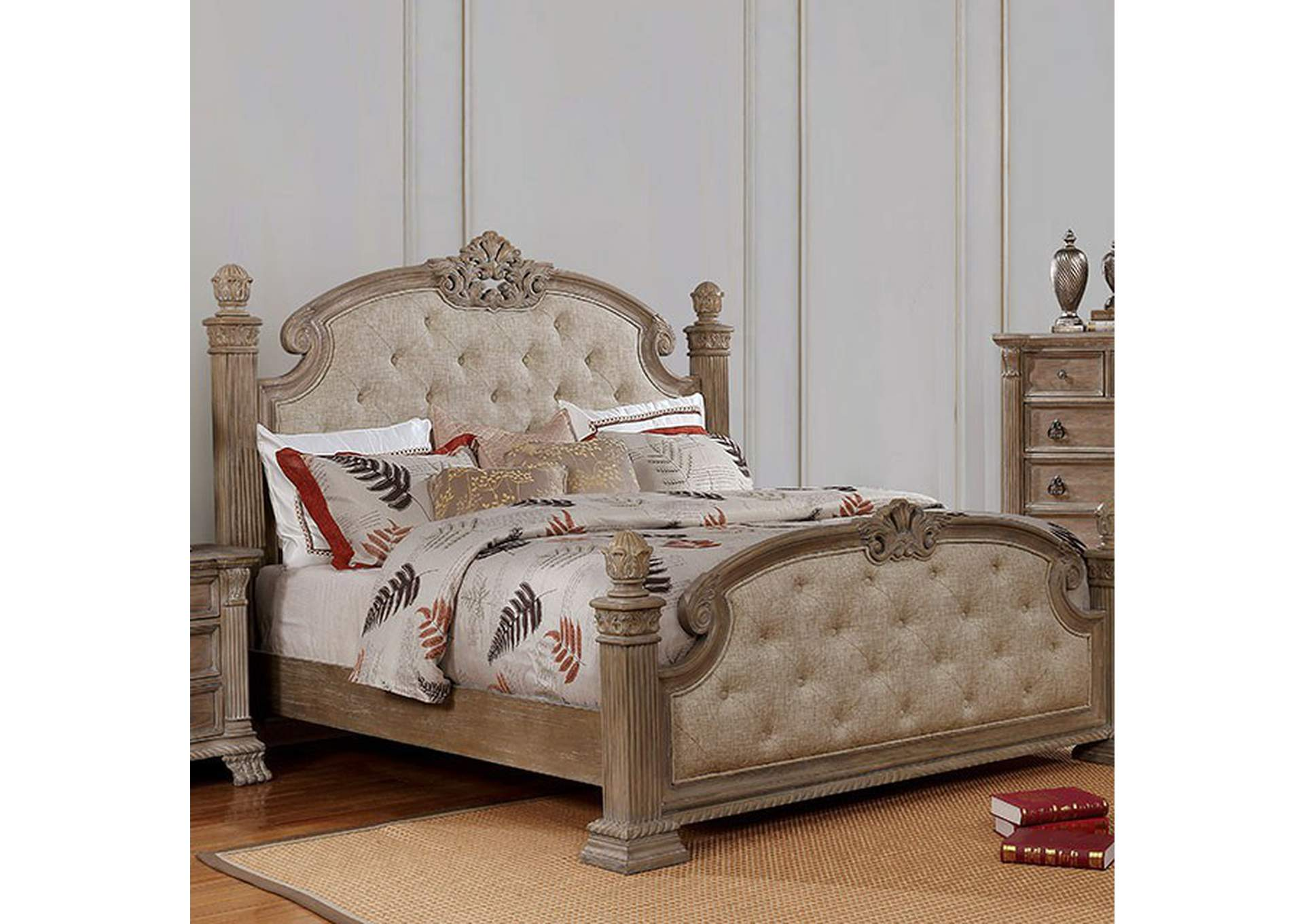 Montgomery Rustic Natural Upholstered Low Poster Eastern King Bed,Furniture of America