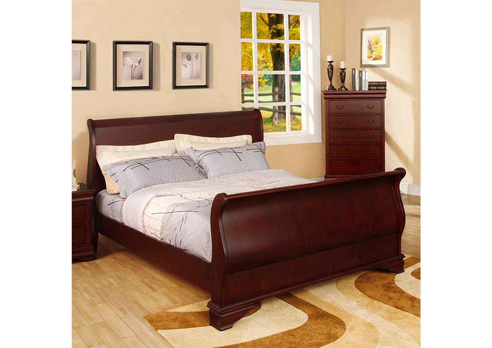 Laurelle Cherry Twin Sleigh Bed,Furniture of America