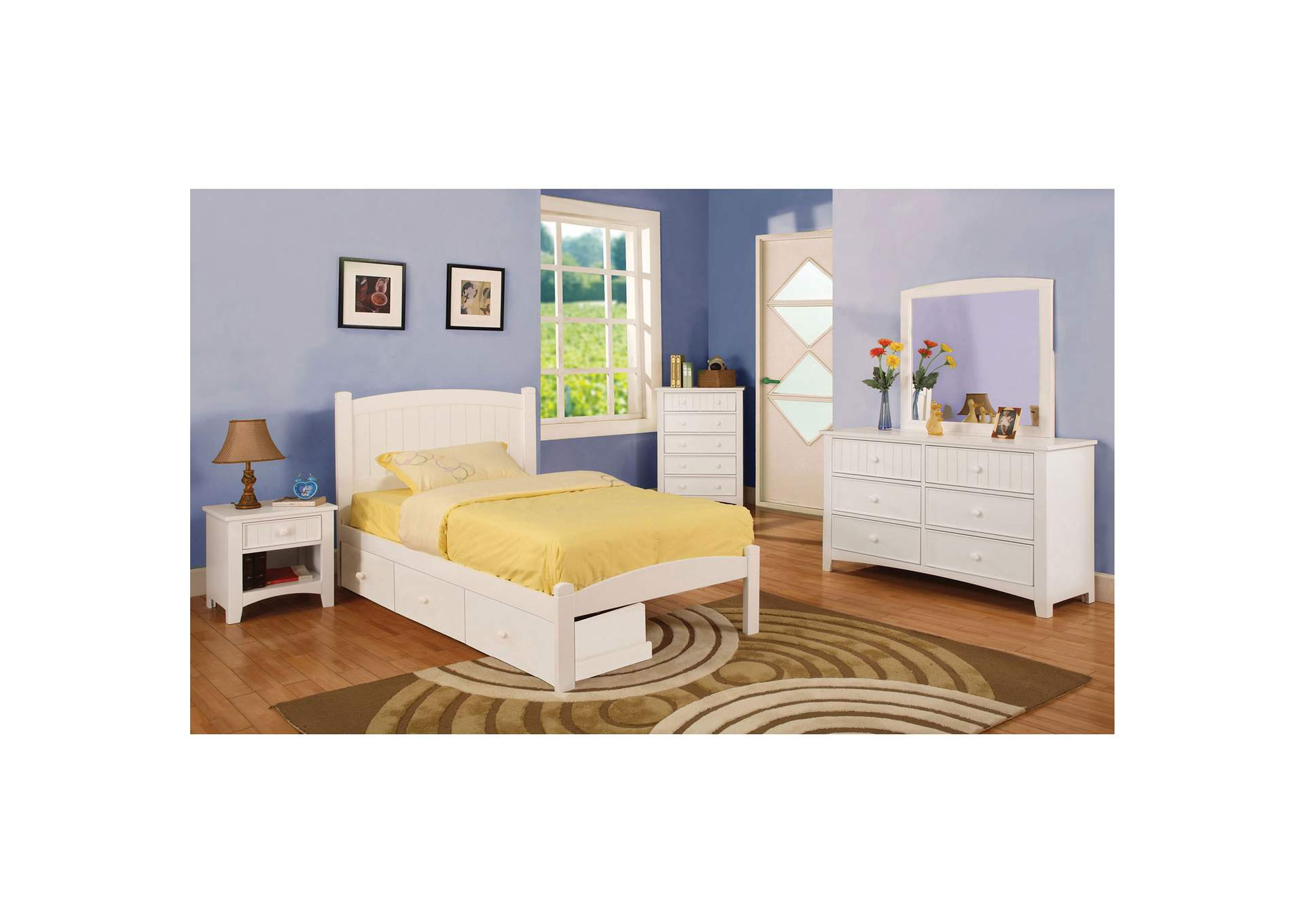Omnus White Nightstand,Furniture of America
