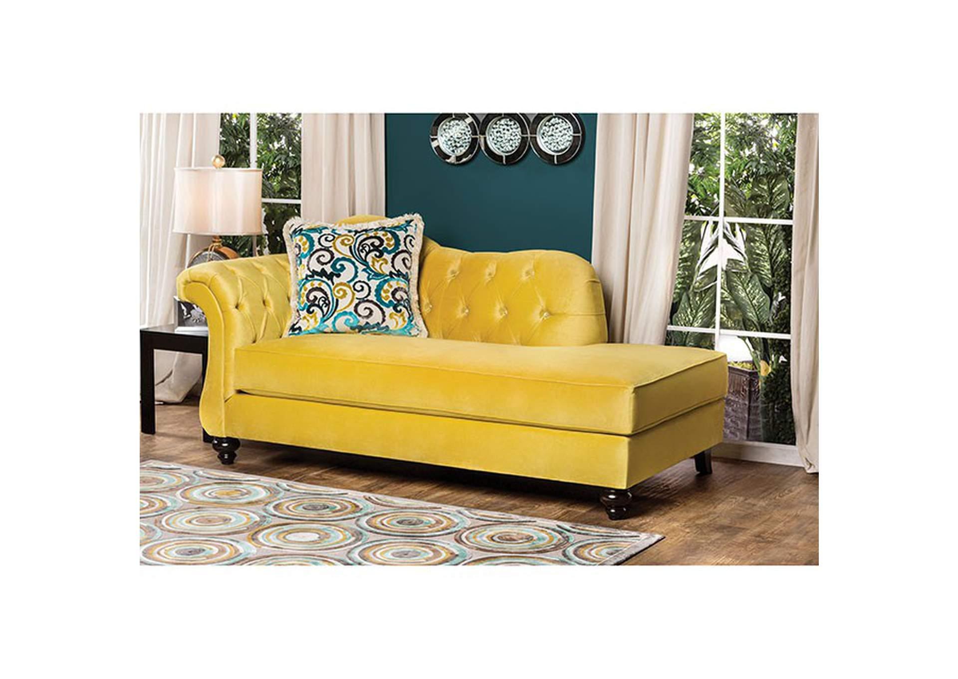 Antoinette Royal Yellow Velvet Chaise W/Pillows,Furniture Of America