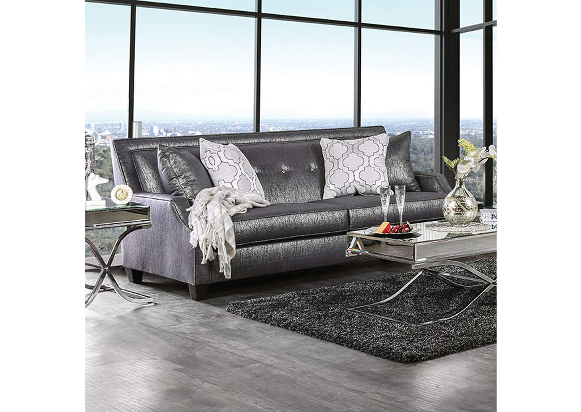 Awesome K K Custom Furniture Massimo Shined Black Sofa W Pillows Uwap Interior Chair Design Uwaporg