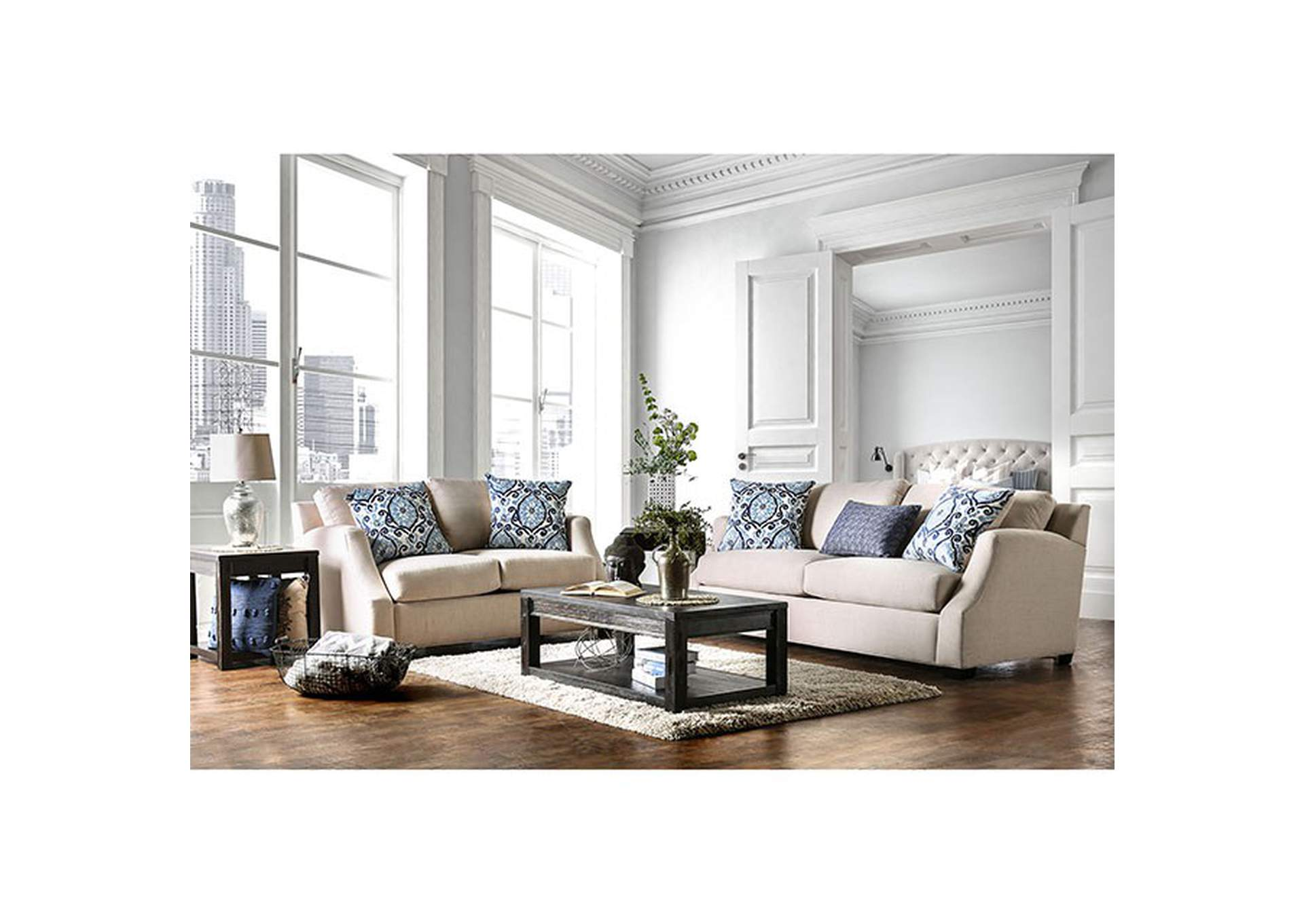 Sensational 363136 Beltran Blue Beige Sofa And Loveseat Set W Pillows Pabps2019 Chair Design Images Pabps2019Com