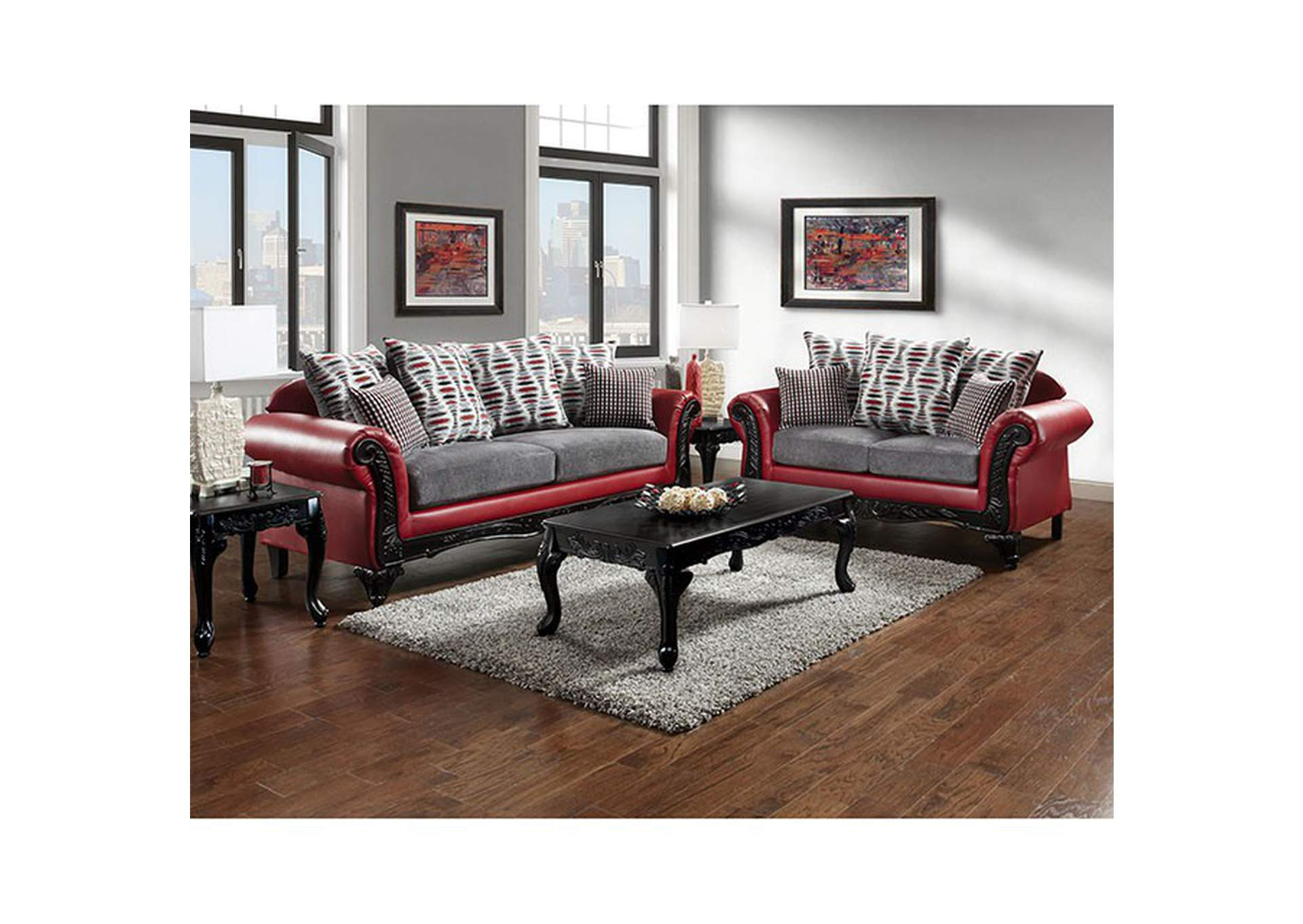 Dimensional Furniture Outlet Myron RedGrey Sofa And Loveseat Mesmerizing Dimensional Design Furniture Outlet Design