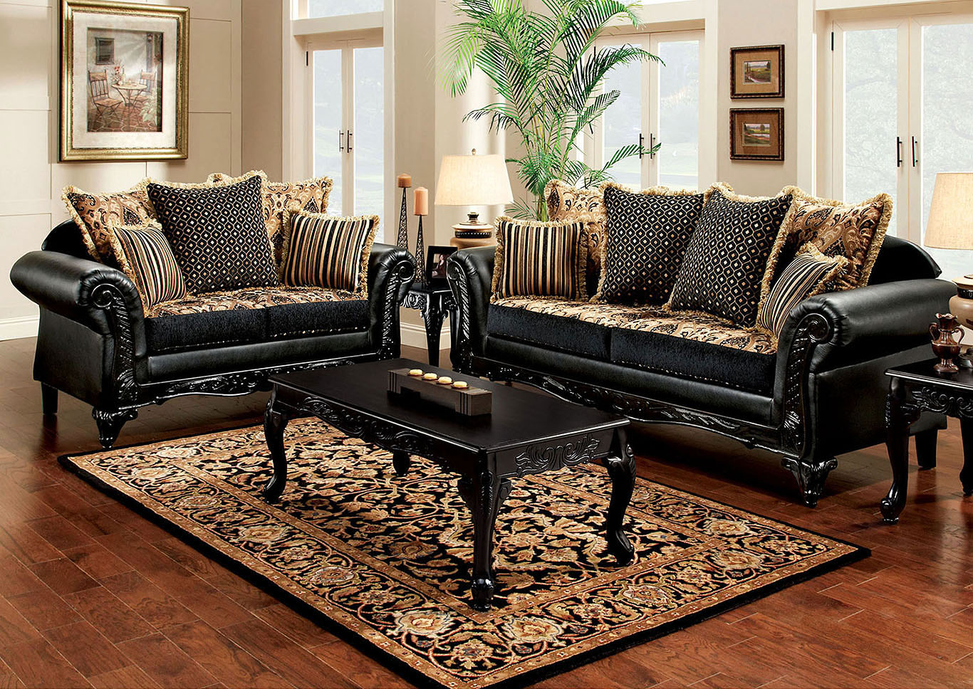 Theodora Black Sofa and Loveseat,Furniture of America