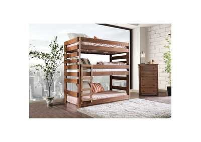 Pollyanna Oak Twin Triple Decker Bed