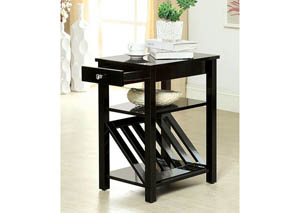 Cortz l Black Magazine Rack w/Drawer & Open Shelf