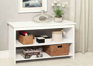 Cortz IV White 2 Shelf Side Table