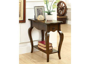 Prosa Oak Side Table w/Antique Pull-Ring Drawer