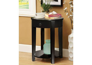 Laria Black Round Side Table w/Drawer & Open Shelf