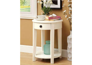 Laria White Round Side Table w/Drawer & Open Shelf