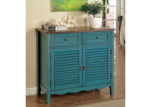 Oleida Blue Louver Design 2 Door & 2 Shelf Cabinet