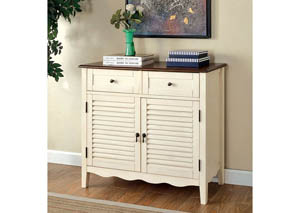 Oleida White Louver Design 2 Door & 2 Shelves Cabinet