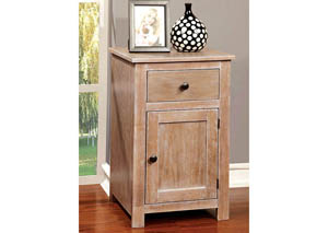Landa Antique Natural Side Table w/Drawer & Storage