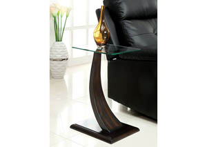 Valon Walnut Curved Panel Side Table w/Glass Top