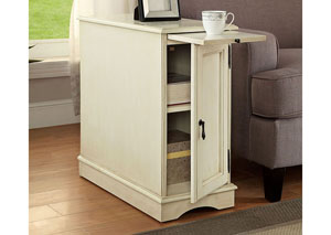 Lilith ll White Side Table w/Storage