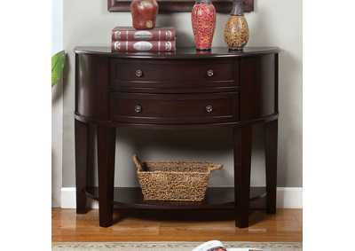 Chanti Espresso Bow-Shaped Side Table w/2 Drawers & Open Shelf