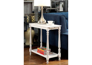 Deering White Side Table w/Hidden Tray & Open Shelf