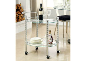 Traco Chrome & Glass Serving Cart w/Gliding Casters