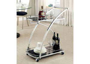 Serra Chrome Serving Cart w/Tempered Glass Shelf & Casters