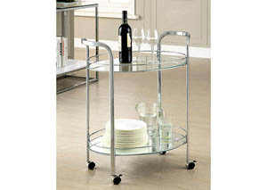Loule Chrome & Glass Serving Cart w/Casters