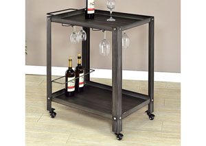 Thea Black/Brushed Silver Serving Cart