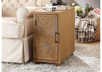Sage Light Oak Side Table w/Shelves & USB