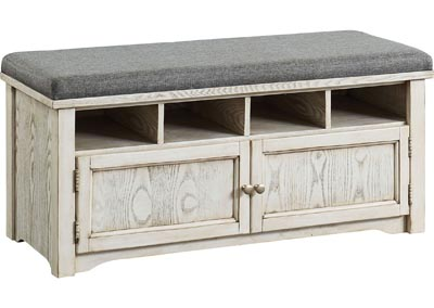 Gwebdolyn Weathered White Shoe Bench w/Storage