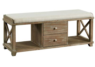 Gracelyn Weathered Oak Shoe Bench w/2 Open Shelves & 2 Drawers
