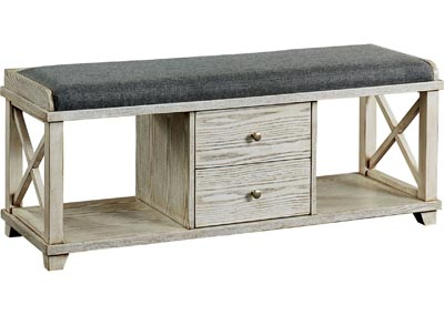 Gracelyn Weathered White Shoe Bench w/2 Open Shelves & 2 Drawers