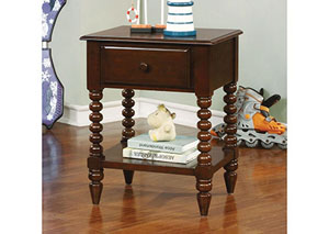 Lindsey Espresso Nightstand w/Shelf