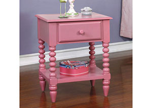 Lindsey Pink Nightstand w/Shelf