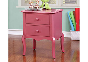 Lexie Pink 2 Drawer Nightstand