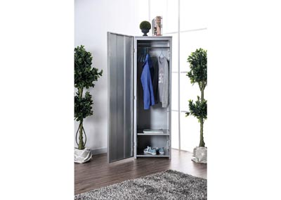 Zaheera Silver Full Metal Locker w/Shelves & Coat Hooks