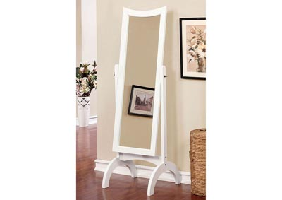 Benita White Standing Mirror w/Full Tilt Motion