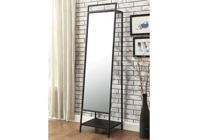 Venus Black Accent Mirror w/Clothes Hangar Rack & Shelf