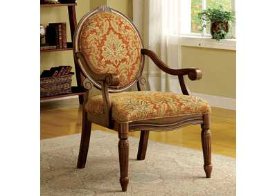 Hammond Victorian Decorative Pattern Accent Chair w/Antique Oak Finish