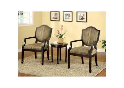 Bernetta ll 3 Piece Earth Tone Striped Accent Table & Chair Set