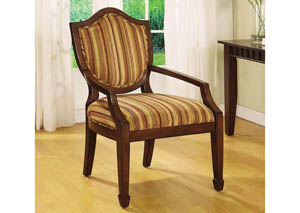 Bernetta l Medieval Design Accent Chair w/Vertical Earth Tone Stripes