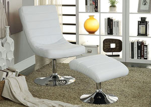 Valerie White Lounge Chair w/Ottoman