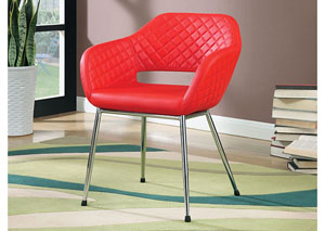 Tasha Red Leatherette Accent Chair