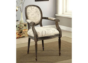 Firth ll World Traveler Pattern Upholstered Accent Chair w/Reclaimed Wood