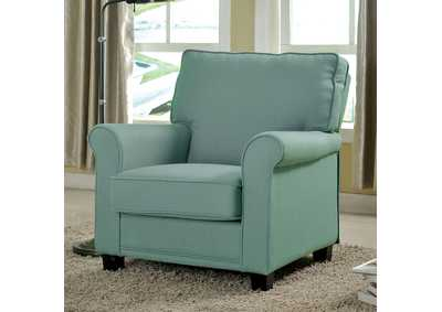 Belem Blue Accent Chair w/Rolled Arms