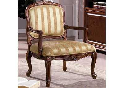 Burnaby Gold Striped Accent Chair w/Hand-Carved Wood Design